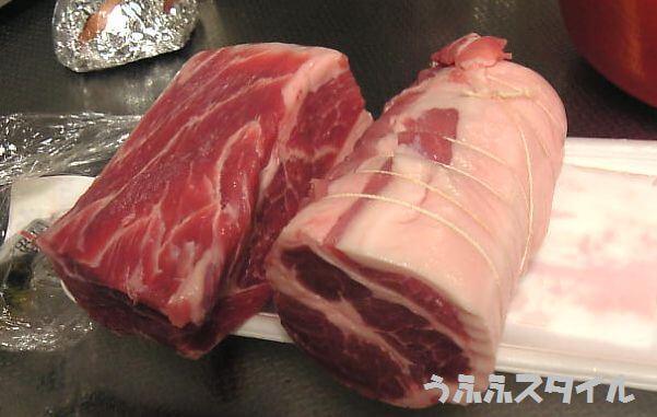 豚肩ロースブロック整形